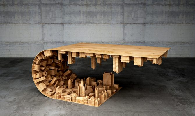 Discover a Cityspace Inside a Coffe Table | This coffee table was inspired by an incredible well-known movie, starring Leonardo DiCaprio as the principal actor, called Inception. #coffeetable #centertables #livingroomdesign