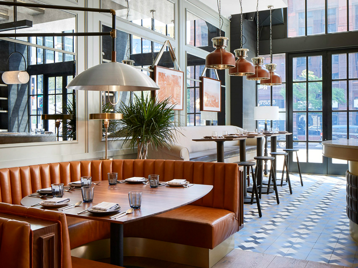 An Old Printing House Turns Into a Mesmerizing Restaurant | The place was transformed into a marvelous place full of mid-century lamps that hang above burnt orange leather booths. #interiordesign #restaurantdesign #restaurantdecor #decorideas #midcenturyideas Old Printing House An Old Printing House Turns Into a Mesmerizing Restaurant FEATURED 6