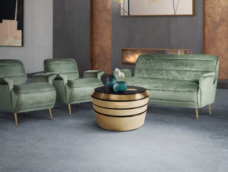 A Retro-Chic Living Room With Miller Cocktail Table