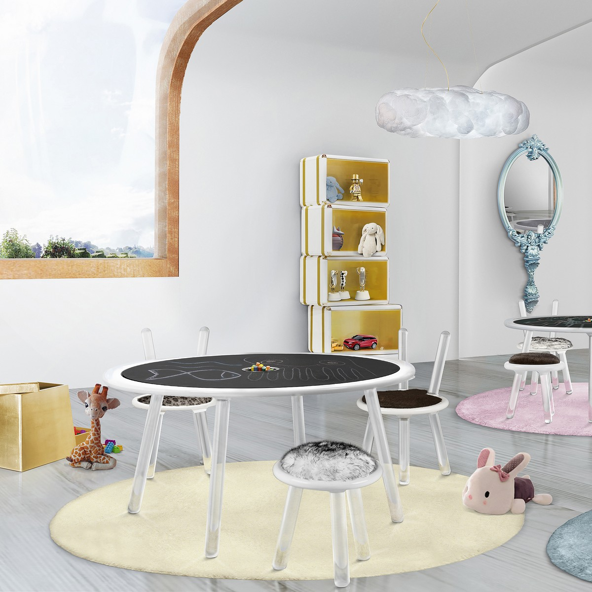 kids room, kids bedroom, luxury furniture, child's room, circu, magical furniture, magic, room decor, kids room decor, childs room decor, decor, table, design kids room The Perfect Magical Table For Your Kids Bedroom Masa Illusion neagra 100x50cm Circu 1